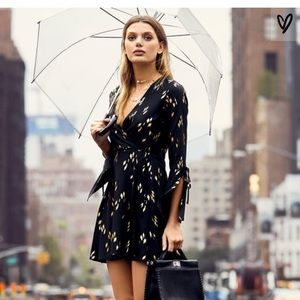 black and gold design wrap long sleeve dress
